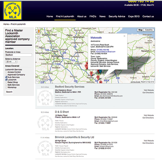 image of locksmith map