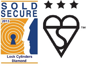 Sold Secure Lock Cylinders Diamond and Kite 3 Star Logo