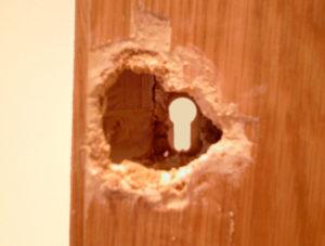 Damaged wooden door