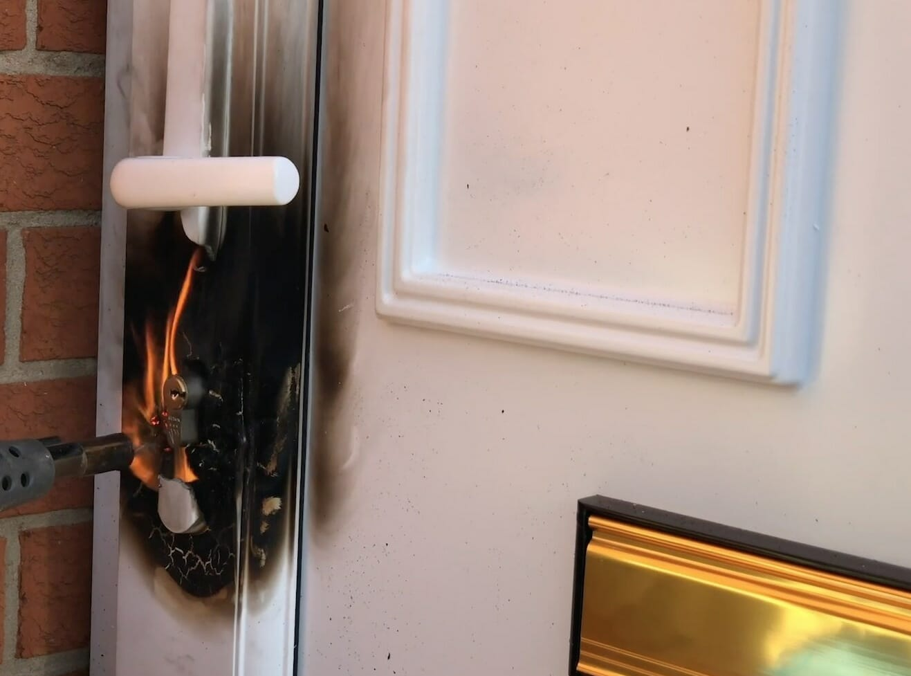 Blowtorch Burglarly on door